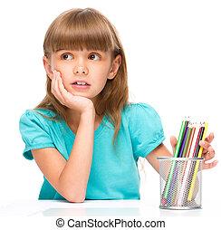 색, 연필, 어린 소녀