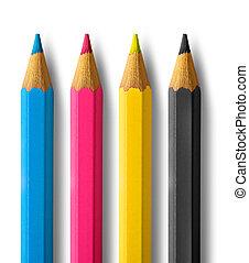 색, 연필, cmyk