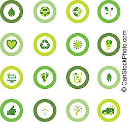 생물, 세트, 아이콘, eco, 상징, 환경, 둥근, 채우는