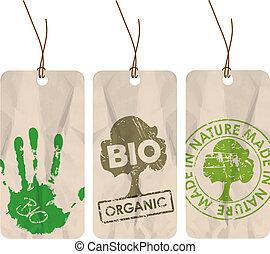 생물, 유기체의, 은 표를 붙인다, eco, /, grunge