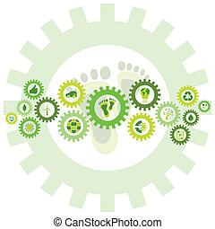 생물, 장치, 쇠사슬, 아이콘, eco, 상징, 환경, 바퀴, 채우는