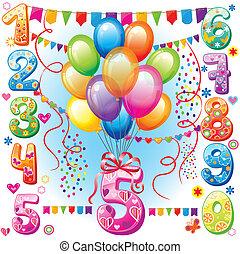 생일, 기구, 수, 행복하다