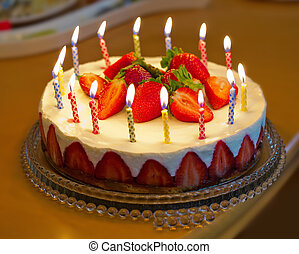 생일, 딸기, 케이크, candles.