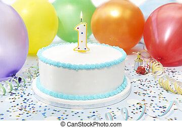 생일 케이크, 아이, 처음, 경축하는
