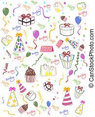 생일, seamless, 배경, 행복하다