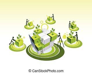 생존, 개념, 녹색, 군서, 삽화