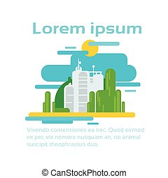 생태학, 공간, 떼어내다, 공장, 환경, 생산, infographic, 사본