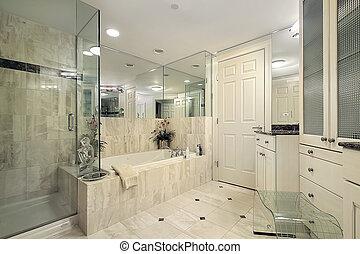 샤워, 유리, 주인, 목욕