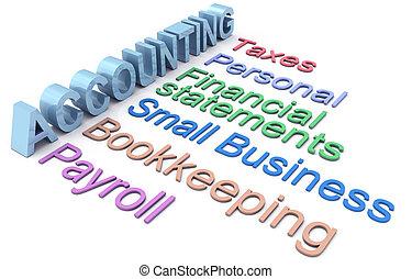 서비스, 회계, 세금, 급여부, 낱말
