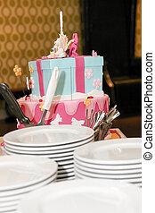 서빙, 생일, 아이, 케이크, 판, 백색