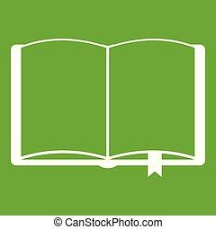 서표, 녹색, 책, 열려라, 아이콘
