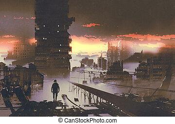 서 있는 사람, 공상 과학 소설, 도시, 개념, 자포자기한