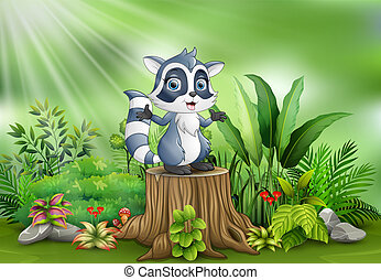 서 있는, 식물, 그루터기, 나무, 녹색, 너구리, 만화