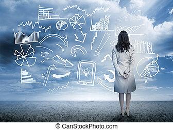 서 있는, 흐름도, 복합어를 이루어 ...으로 보이는 사람, 자료, 여자 실업가