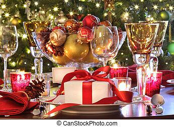 선물, 휴일, 테이블, 빨강, 짐, 리본을 단