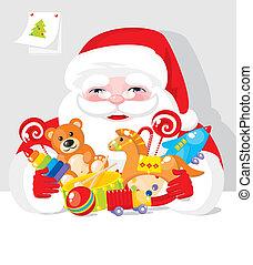 선물, claus, -, santa, 장난감