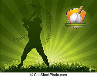 선수, 공, 야구, 돛대, 은 친다