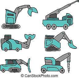 설정되는 건설, 만화, 차량