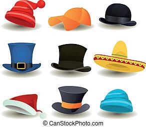 설정되는 머리, 모자, 정상, 다른, 착용, 모자