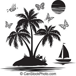 섬, 실루엣, 나비, 배, 손바닥