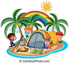 섬, 아이들, 나가, 야영, 장면, 행복하다