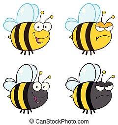 성격, -, 수집, 꿀벌, 3, 만화, 마스코트