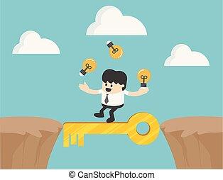 성공, 십자가, 삽화, 열쇠, 실업가, 절벽