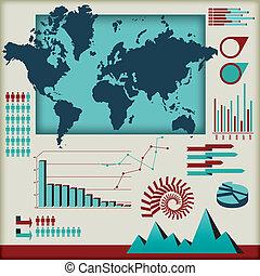 성분, 세트, 벡터, infographics
