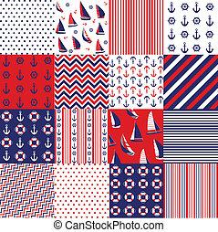 성분, seamless, 패턴, 항해의