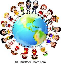 세계, 나라, 약, 많은, 아이들