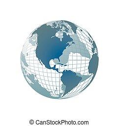 세계 지구, 지도, 3차원