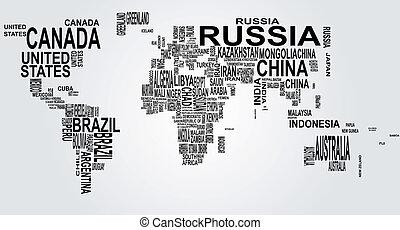 세계 지도, 이름, 나라
