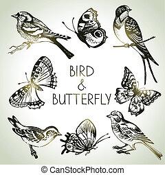 세트, 나비, 새, 삽화, 손, 그어진