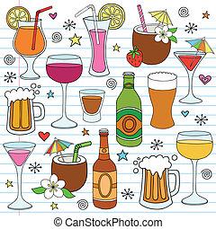 세트, 낙서, 맥주, 벡터, 포도주, 은 마신다