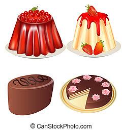 세트, 디저트, 젤리, 딸기, 버찌 케이크
