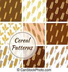 세트, 밀, 호밀, seamless, 패턴, 곡물, 곡물, 귀