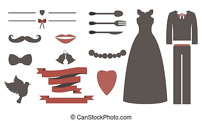 세트, 성분, 포도 수확, 결혼식, 디자인, 초대, toolkit., 디자이너