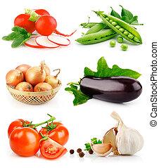 세트, 잎, 녹색, 과일, 야채, 신선한