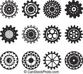 세트, 장치, 고립된, 수집, 배경., gears., 바퀴, 백색