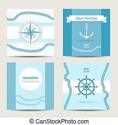 세트, 항해의, 4, 본뜨는 공구, 초대, 카드