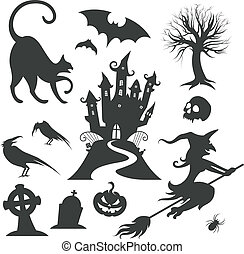 세트, halloween, 벡터, 여러 가지이다, 디자인 성분