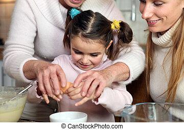 소녀, 거의, 빵 굽기, 그녀, 가족