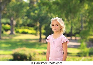 소녀, 공원, 거의
