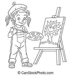 소녀, 그림, 예술가, 그림