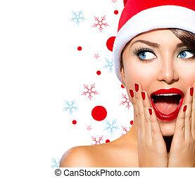 소녀, 아름다움, 모델, woman., santa, 크리스마스 모자