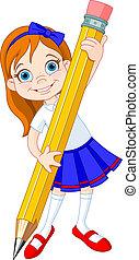 소녀, 연필, 보유
