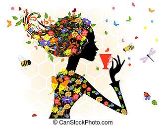 소녀, 유행, 꽃