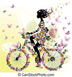 소녀, 자전거, 공상에 잠기는