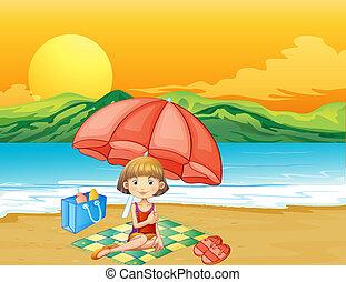 소녀, 책, 바닷가