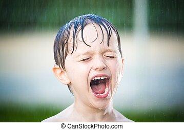 소년, 거의, 옥외, 샤워, 남자가 멋을 낸, european